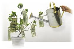 Ένα ποτιστήρι που ποτίζει μια γλάστρα με λεφτά